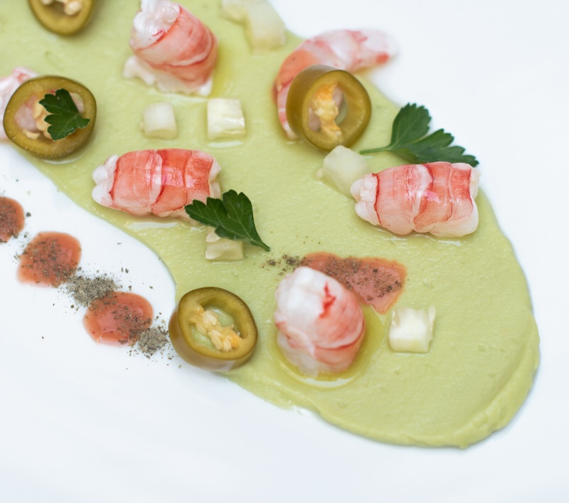 Red Prawn Cevicho on Avocado Purée - Natural Chef Mallorca - Private Chef Service Mallorca