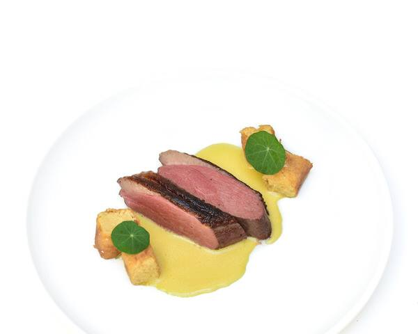 Sous Vide Duck Breast, Orange and Cointreau Vinaigrette, Polenta Bites