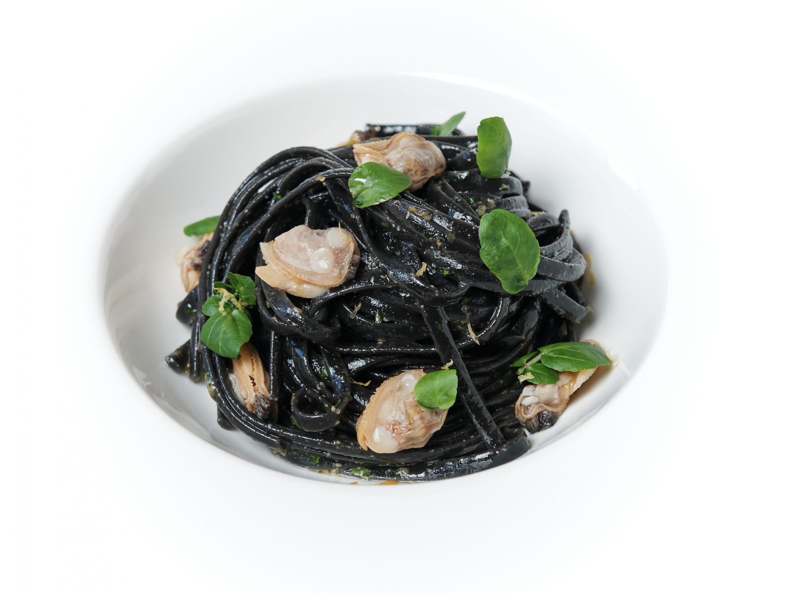 Squid Ink Spaghetti with Clams and Lemon Sauce